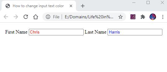 change input text color