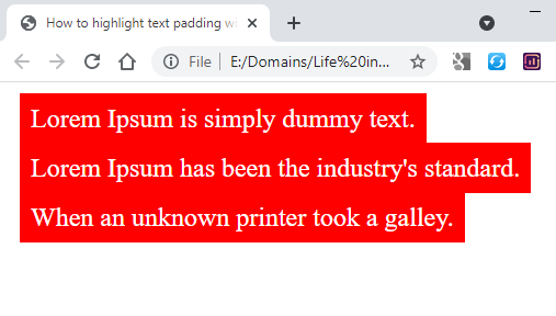 padding to highlighted text