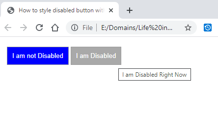 style disabled button with CSS
