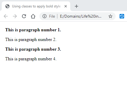 Using classes to apply bold style to p elements